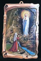 Our Lady of Lourdes - 3D Lazar Cut Wood Plaque