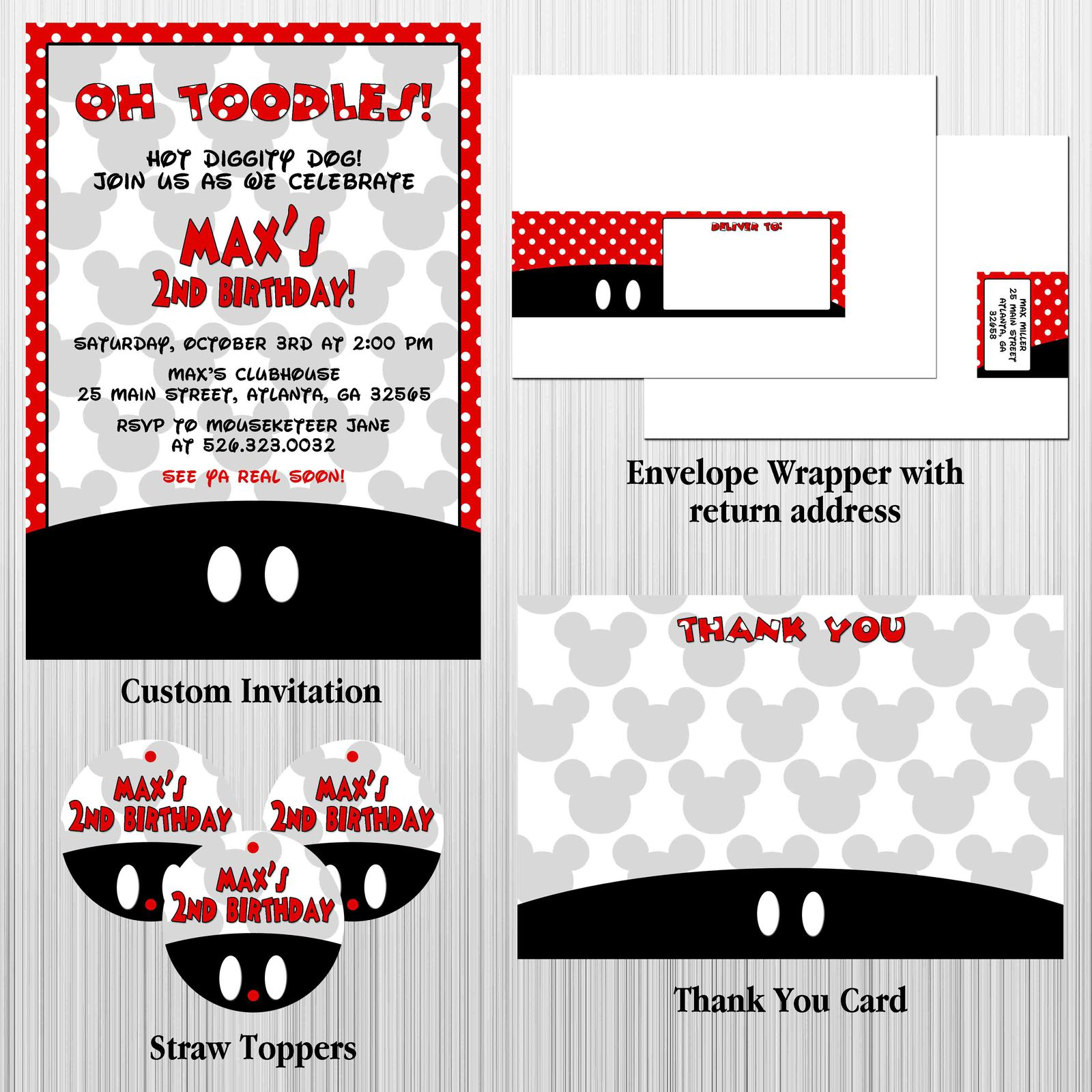 Mickey Mouse Custom Birthday, Baby Shower Party Package with Invitation for sale  USA