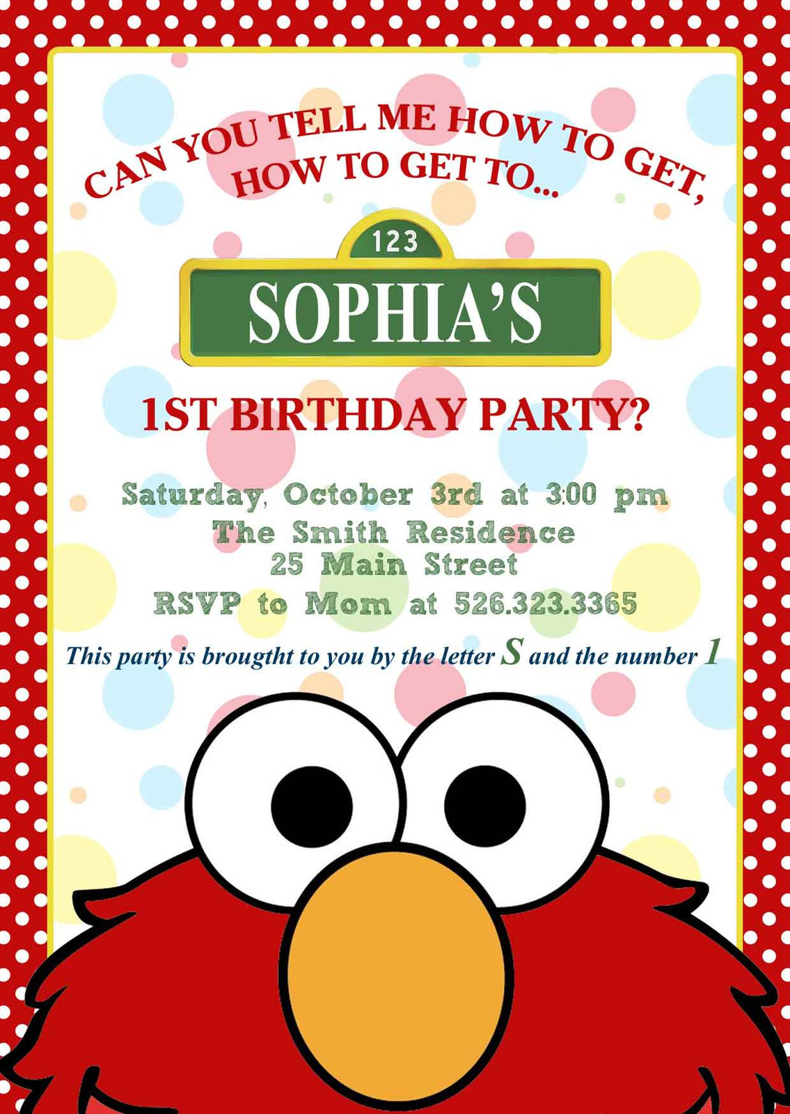 Elmo Custom Birthday, Baby Shower Party Package with Invitation
