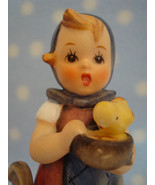 "Vintage Hummel TMK4 Feeding Time 4+"" tall girl w rooster hen chicks ~ Go... - $29.00"