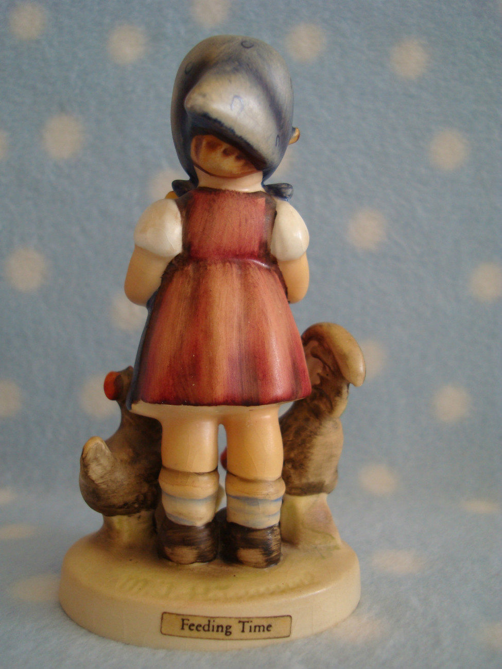 "Vintage Hummel TMK4 Feeding Time 4+"" tall girl w rooster hen chicks ~ Good cd"