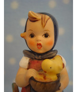 "Vintage Hummel TMK4 Feeding Time 4+"" tall girl w rooster hen chicks ~ Gr... - $36.00"