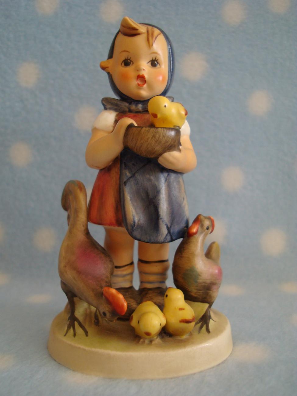 "Vintage Hummel TMK4 Feeding Time 4+"" tall girl w rooster hen chicks ~ Great cd"