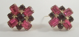 pair of fushcia pink amethyst purple emerald cut rhinestone scatter pins 3968 - $18.00
