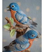 Vintage Lefton Porcelain Bluebirds on Tree ~ Excellent cd makers mark + ... - $16.00