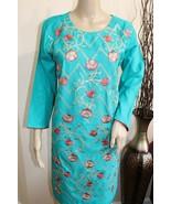 Turquoise Medium Pakistani Viscos Kurti Fancy Thread Embroidery - $34.65