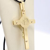 18K YELLOW GOLD CROSS, JESUS & SAINT BENEDICT MEDAL, BIG 2.1 INCHES, ITALY MADE image 6