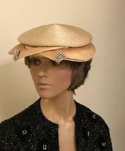 60's glam mini hat with satin and rhinestone brim. - $51.43