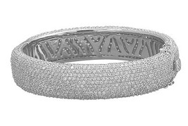 Sterling Silver Rhodium Plated Hinged CZ Bangle - $1,065.83 CAD