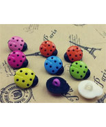 LadyBugs Black Body Multicolor Plastic Novelty Buttons/ DIY Sewing suppl... - $3.60