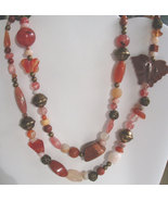 Shades of red double strand multi gemstone necklace - $38.00