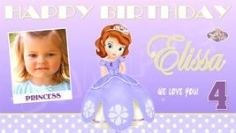 Sophia the First Custom Personalized Birthday Party Banner Polkadots w/ Photo - $39.95