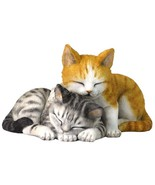 Sleeping taby kittens figurine sculpture collectible color - $22.80