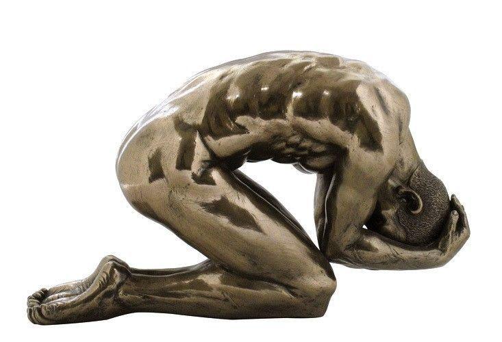 Contemporary Kneeling Nude Male- 74993A1 Bronze Sculpture Figure Statue - Art Sculptures-7594