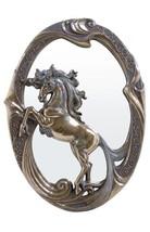 Burnished Bronzehued Victorian Wall Mirror Unicorn - $58.54