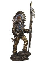 indian chief holding feathered spear and peace pipe large bronze statue - $350.28