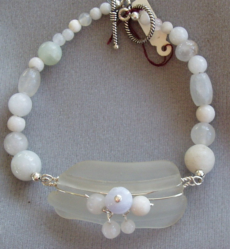Seaglass and olive jade bracelet
