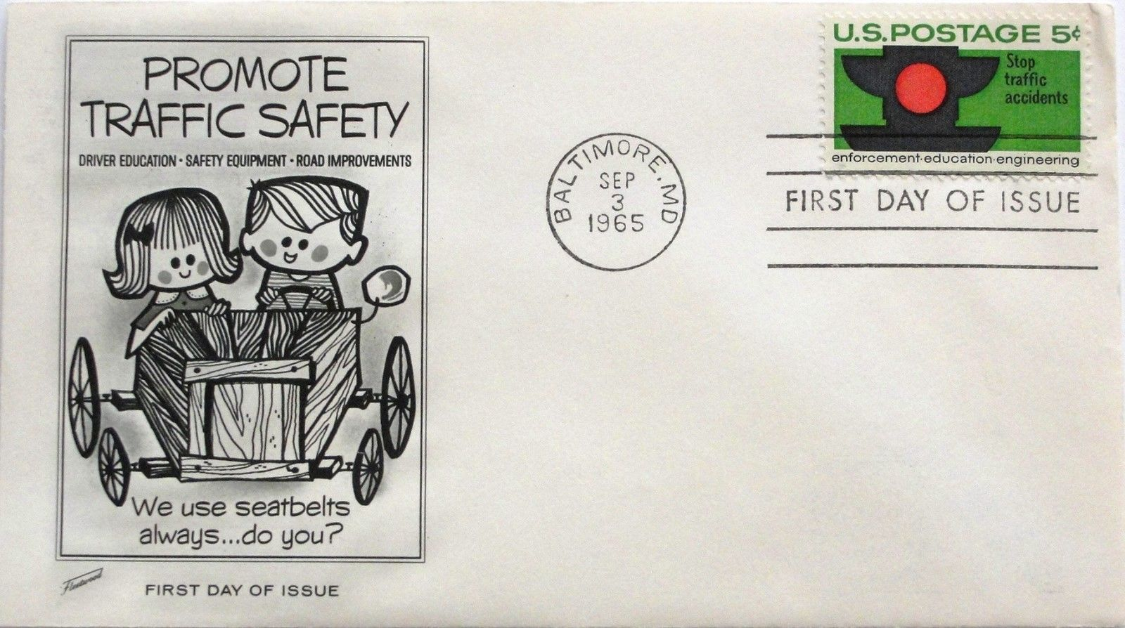 September 3, 1965 First Day of Issue, Fleetwood Cover, Traffic Safety #53