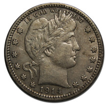1914 Barber Quarter 25¢ Silver Liberty Head Coin Lot# MZ 3512