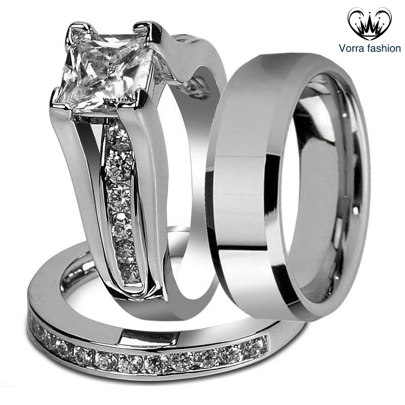 Primary image for Princess Cut Diamond White Gold Plated 925 Silver Men's Women's Trio Ring Set
