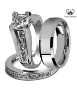 Princess Cut Diamond White Gold Plated 925 Silver Men's Women's Trio Ring Set  - $171.99