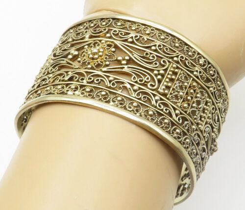 925 Silver - Vintage Gold Plated Floral Twist Filigree Cuff Bracelet - B5034