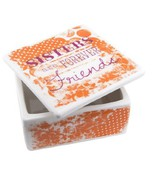 Sisters are Forever Friends ceramic covered trinket/jewelry box - $16.83