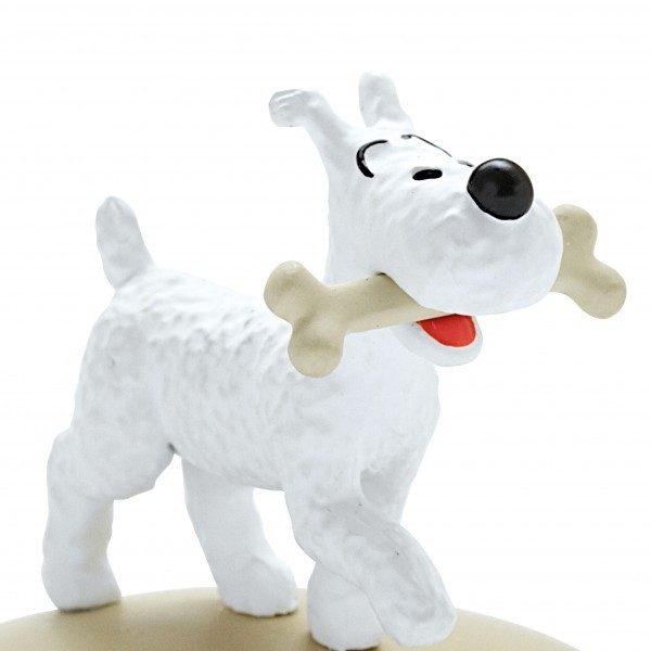 Snowy with a bone  resin figurine Official Tintin product