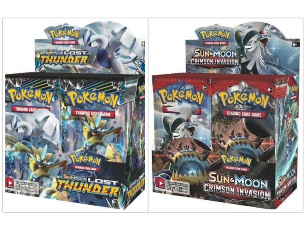 Pokemon TCG Sun & Moon Lost Thunder + Crimson Invasion Booster Box Bundle