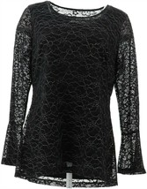 Isaac Mizrahi Metallic Lace Bell Slv Knit Top Black M NEW A347041 - $47.50