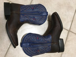 Kids Ariat Fatbaby Quickdraw Blue Brown Rowdy Western Boots sz 2 - $41.73