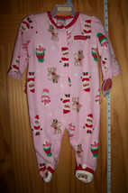 Carter Baby Clothes 3M-6M Newborn Playsuit Pink First Christmas Holiday Sleeper - $12.34