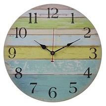 Eruner 14-inch Vintage Wood Wall Clock - Colorful Ocean Stripe Design Fr... - $23.44