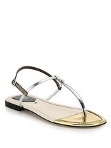 NIB Fendi Isabel Metallic Leather Thong Sandals New  10 40  ($495) - $295.00