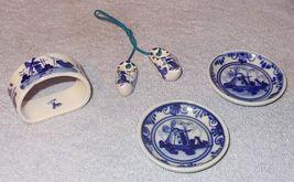Vintage Holland Blue Delft Butter Pats Napkin Ring Miniature Clogs Lot - $9.95