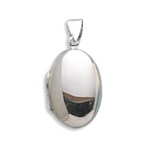 Polished Sterling Silver Oval Locket - €44,72 EUR