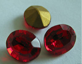 1 Vintage Faceted Glass Siam Oval Rhinestones - $3.50