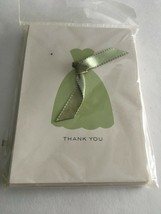 NEW 10 Thank You Notes Dress & Ribbon Blank Cards Green Bridal Shower Party - $6.88