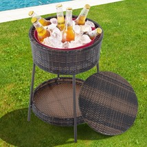 Garden Storage Ice Bucket Patio Furniture Rattan Wicker Pool Party Cooler - $123.86