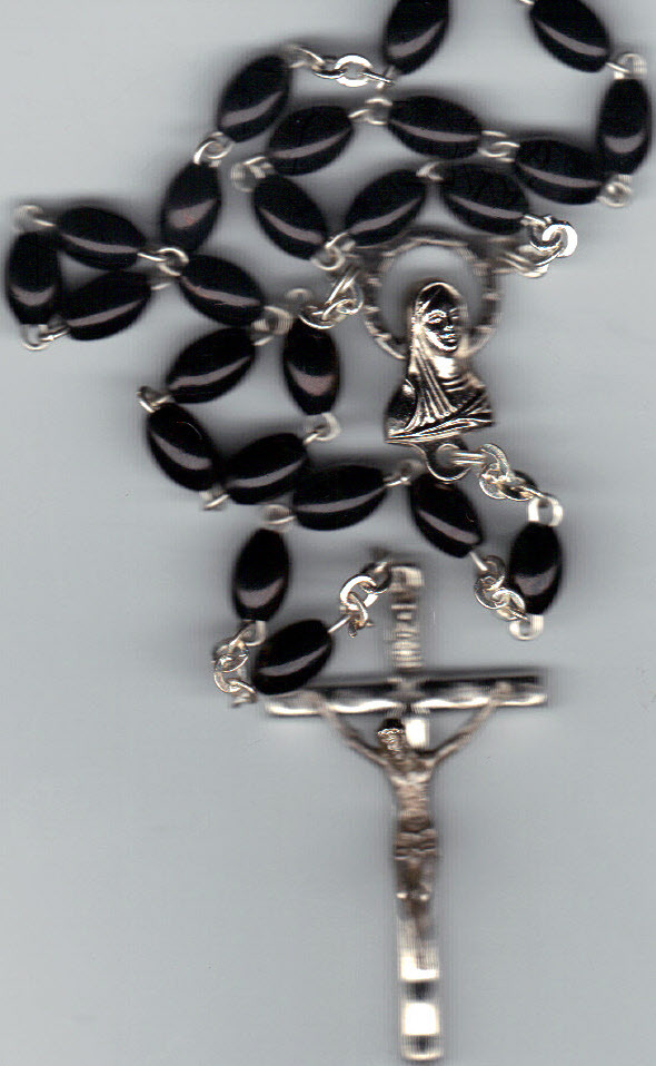 Rosary   black 15 inches long lucite bead 610 b