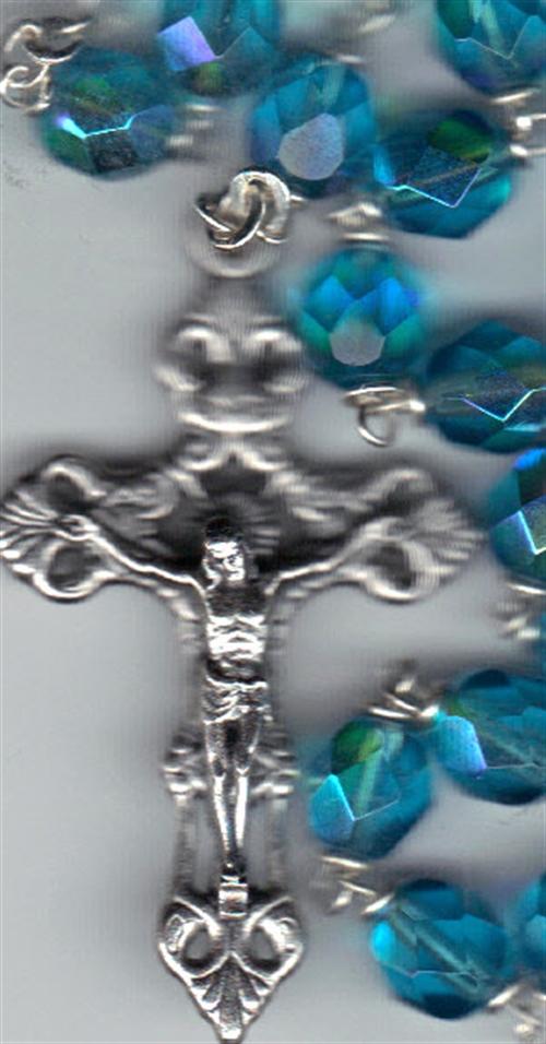 Rosary   aqua 7mm lock linked aurora glass bead mb80 aq