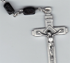 Rosary - Black Rectangular Wood Bead - MB-1010A/Black image 2