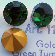 2 Vintage Swarovski  Green Turmaline Crystal Rhinestones - $8.00