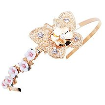 Golden Butterfly Hollow Beads Diamond Hair Accessories Headband Headdress