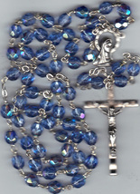 Rosary - Blue 7mm Lock Linked Aurora Glass Bead - MB80/BLU-1085A - $21.99