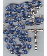 Rosary - Blue 7mm Lock Linked Aurora Glass Bead - MB80/BLU-1085A - $21.99
