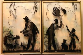 """Set of 2 Convex Glass 6 1/2"""" X 8 1/2"""" Silhouette Pictures Organ Grinder 150"""