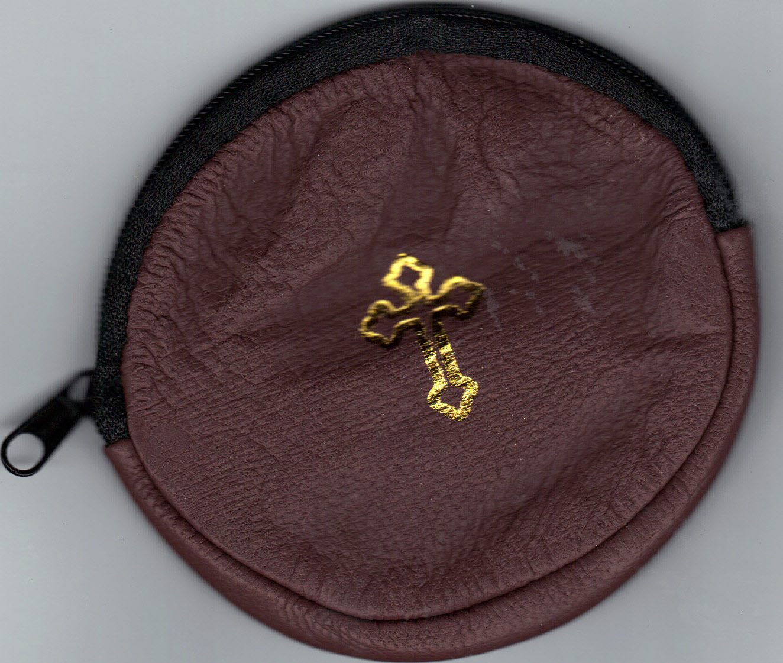 Rosary case brown round mb6bnjpg