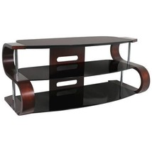LumiSource Modern Dark Wood w/Black Glass Shelf S-shaped TV Stand TV-TS-... - $325.00