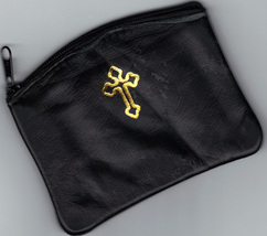 Rosary Case, Black, Genuine Leather - Zip Closure